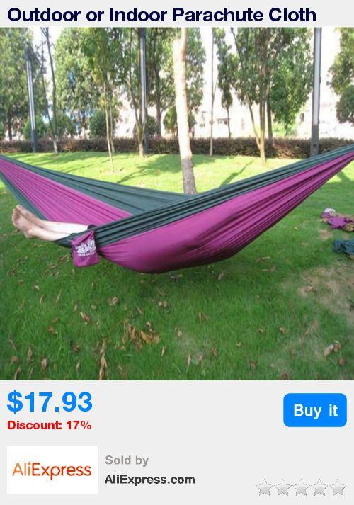 Outdoor or Indoor Parachute Cloth Sleeping Hammock Camping Hammock high quality multicolor * Pub Date: 01:46 Oct 19 2017
