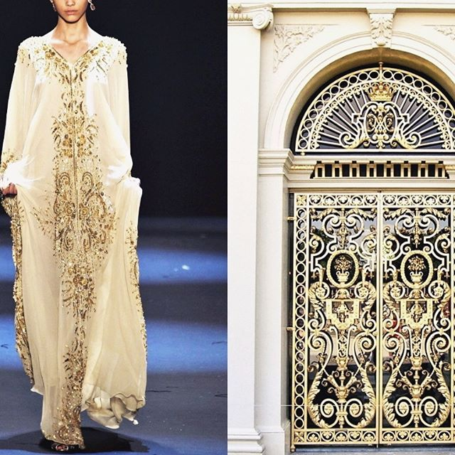 Blog PHOTO & L' ART ♡.♡ • Naeem Khan Fall 2011. Photo by Monica Feudi/GoRunway via vogue.es • & • One of the gilded doors at Palace Het Loo in Apeldoorn, Netherlands. Photo by Paul Blonk • Dress: @naeemkhannyc #NaeemKhan Collage by @l_i_ll_i_u_m All collages by tag #LiliyaHudyakova