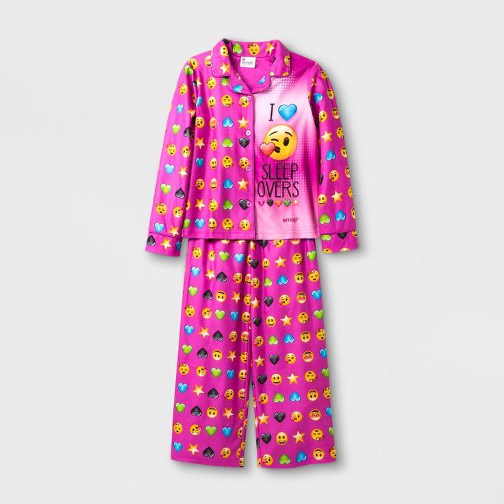 Girls' Emoji 2 Piece Pajama Set - Multi-Colored 10,