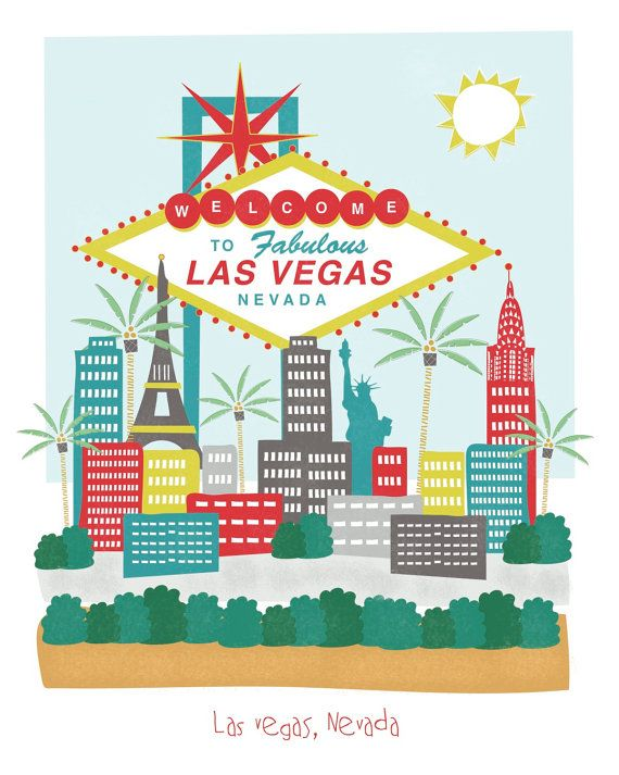 Las Vegas Nevada  8x10  city art illustration by confettielove