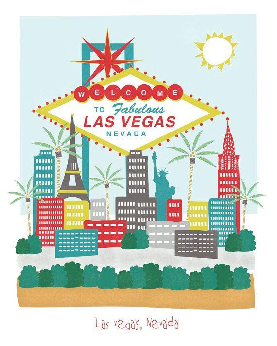 #flat #design #poster: Las Vegas, Nevada - 8x10 - city art illustration wall decor