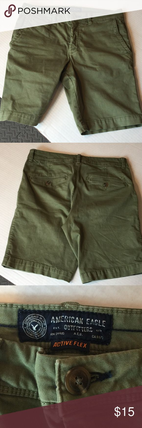 American Eagle Guys Shorts Olive green size 30 Slim flat front shorts good condition. American Eagle Outfitters Shorts Flat Front