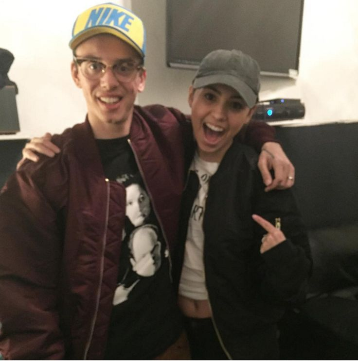 Rapper, Logic, and his wife, Jess Andrea, rocking matching MA-1 Flight Jackets together before his performance in NYC for The Incredible World Tour.