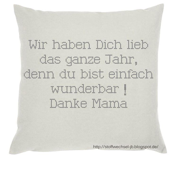 Muttertagsgeschenk, Vatertagsgeschenk, Kissen, Pillow, Cover, cushion  http://stoffwechsel-jb.blogspot.de/