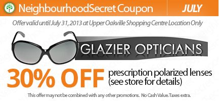 Print this coupon & save 30% prescription polarized lenses at Glazier Opticians. See Store for details, certain restrictions apply.