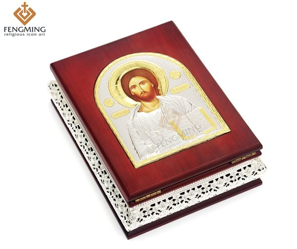 >> Click to Buy << Wood Craft gift box case of Silver Greek Orthodox Church religious icon Lord Jesus Christ for Jewelry  home decoration baptism #Affiliate