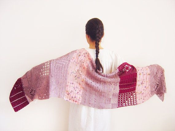 Crochet Scarf. Unique Handmade Scarves for Women. Pink Crochet Scarves. Unique Knitted Scarves.