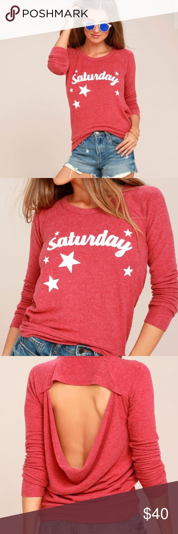 "Chaser ""Saturday"" Open Back Sweatshirt Adorable heathered red open back sweatshirt from Chaser. So soft!! Features ""Saturday"" on front with stars and has cut-out back. Color is shown best in stock photos. Brand new with tags. Chaser Tops Sweatshirts & Hoodies"