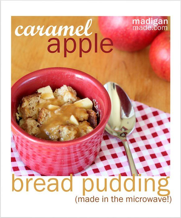 Yum! This sounds perfect for fall: caramel apple microwave bread pudding (single serving, too!)