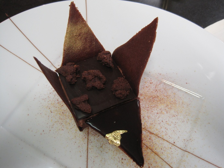 """Laurent Jeannin.  A dessert inspired by his time in Japan.  (See the Japanese origami influence on the edible """"box""""?)"""