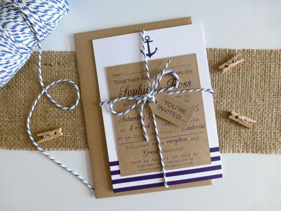 Nautical Wedding Invitations with kraft card, navy stripes, anchor detail and blue and white twine ~ perfect for weddings by the sea, on the beach or: