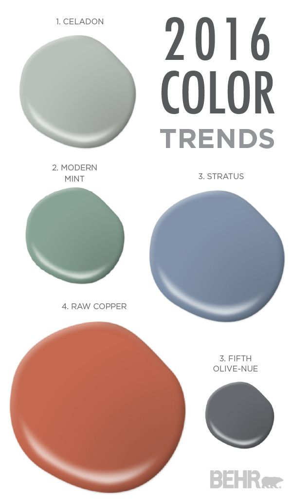 This color palette from the 2016 Color Trends is rustic and earthy, while still having an edge of sophistication. Add the shades of Modern Mint, Celadon, Raw Copper, Stratus, and Fifth Olive-Nue to your space to enhance your traveled design aesthetic.