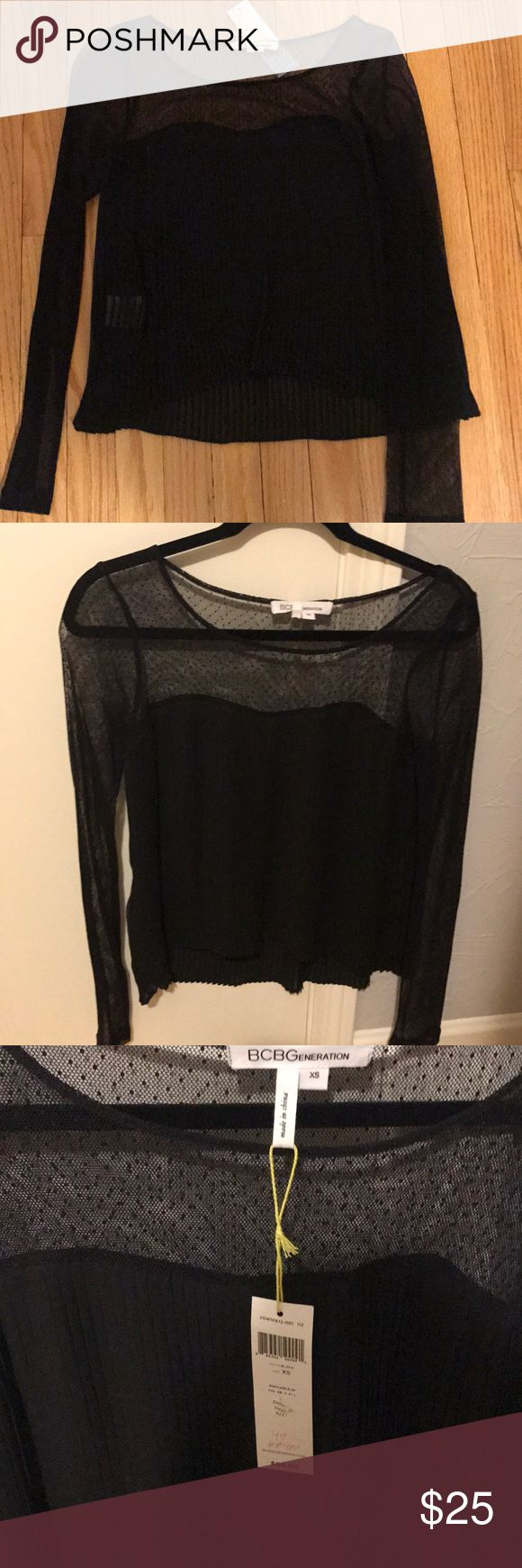 NEW* BCBGeneration top BCBGeneration long sleeve top. Lace arm with accordion body. BCBGeneration Tops Blouses