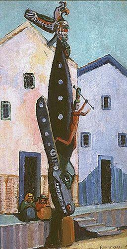 Totem Pole (Alert Bay), 1911, huile sur toile - Emily Carr