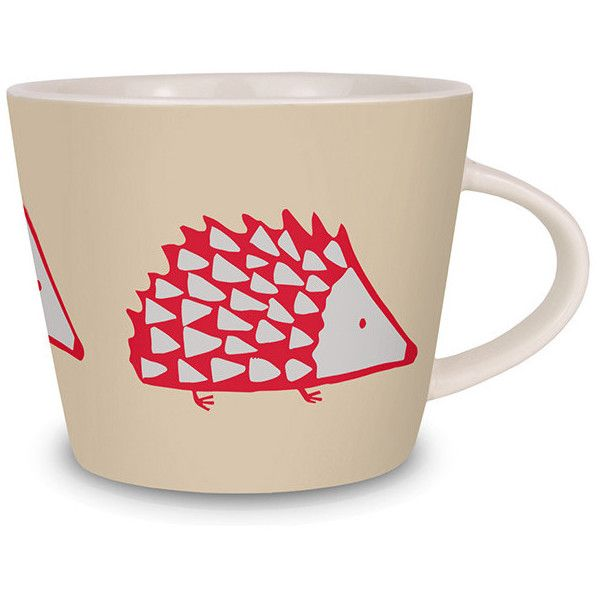 Scion Spike Mug - Neutral ($16) ❤ liked on Polyvore featuring home, kitchen & dining, drinkware, red, red mugs, porcelain tea cups, red cup, porcelain mugs and porcelain cups
