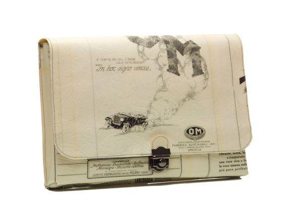 Laptop Sleeve  Clutch  Macbook Cover with Vintage by CeeBeeRecycle