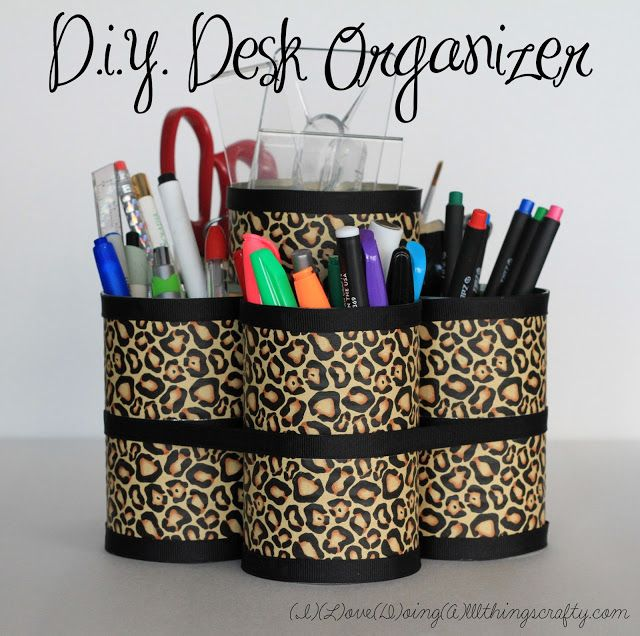 DIY Desk Organizer made with cans and printed duct tape..beautiful!