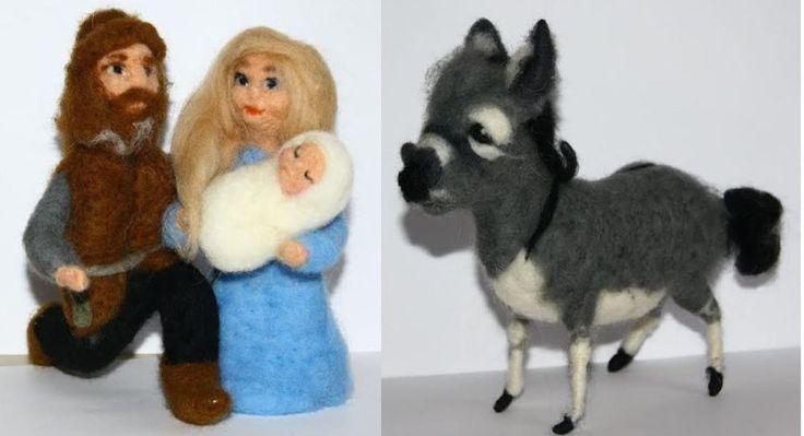 Holy Family - Christmas  needle felted donkey beautiful gift  #1 | eBay