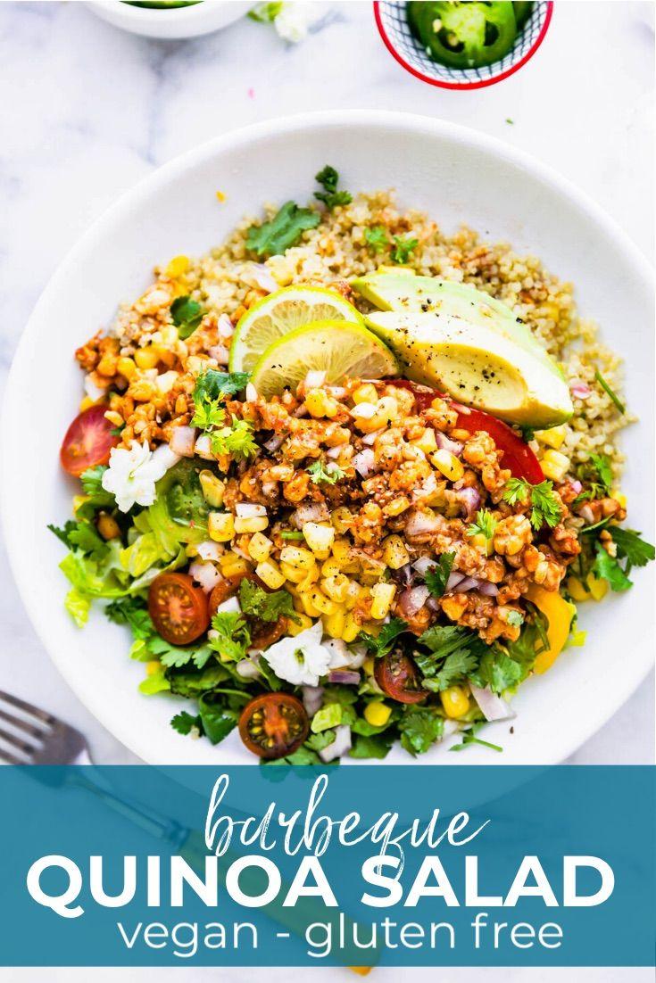 Vegan Quinoa Salad With Bbq Tempeh Cotter Crunch Recipe In 2020 Vegan Quinoa Salad Vegan Quinoa Salad Recipes