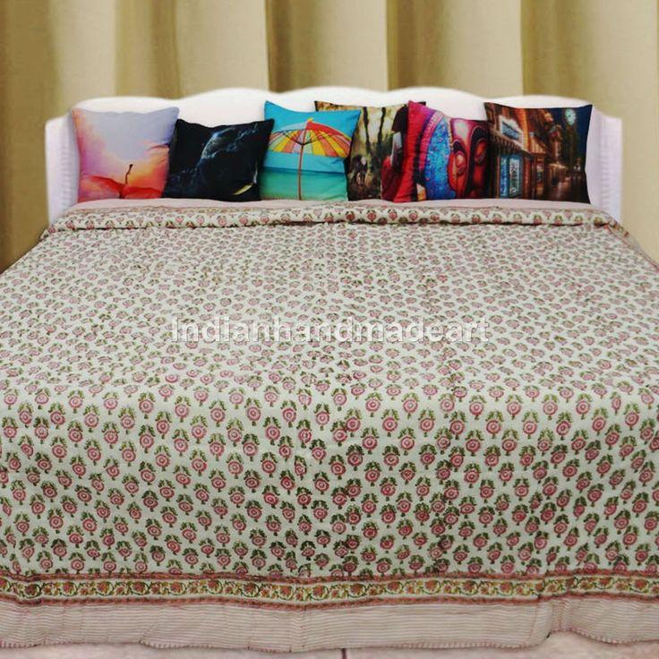 Kantha Quilt Indian Handmade Quilt Vintage Bedspread Cotton Blanket Queen size #Handmade #Traditional