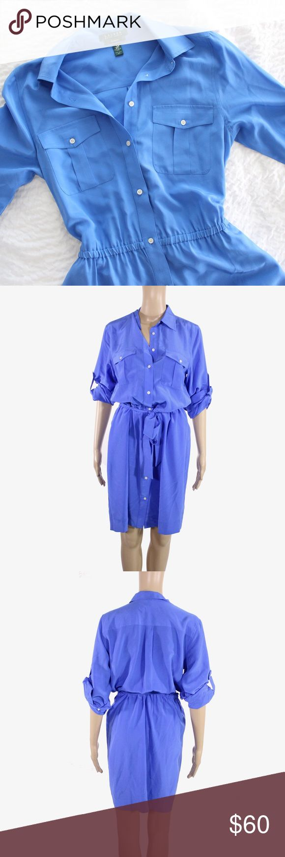 Ralph Lauren Silk Shirt Dress Roll Tab Sleeves Tie Lauren Ralph Lauren blue silk shirt dress with button down closure and roll tab sleeves. Elastic waist with a detachable sash belt.  Fits true to size.  Shown on size 4/6 mannequin.  In gently used condition, no flaws.  Measurements available upon request.  All orders shipped same or next business day! Lauren Ralph Lauren Dresses Long Sleeve