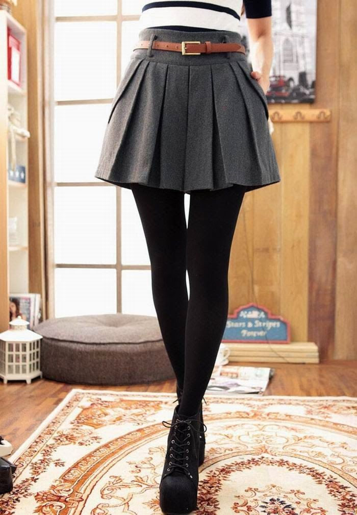 Amazing Grey Mini Shirt with slim Belt,Black Tights and Black Platform Shoes