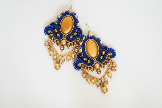 sutasz kolczyki złoto niebieskie - Cattaleya-sutasz - Kolczyki wiszące