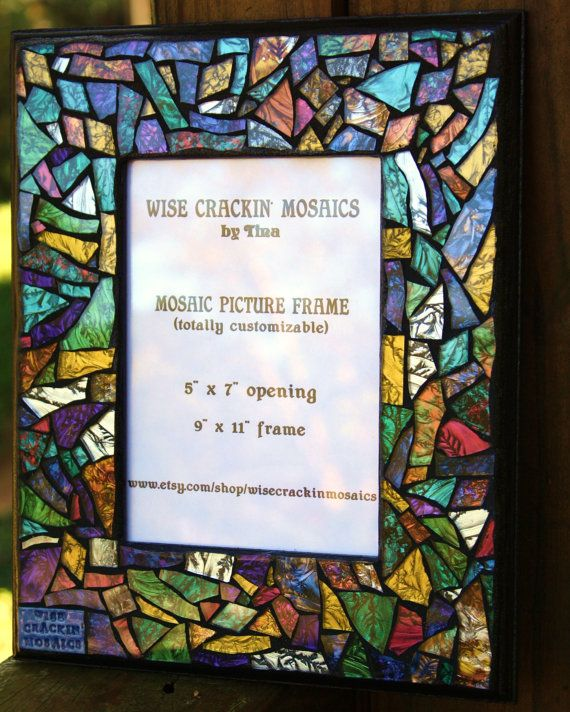 "CUSTOM Mosaic Picture Frame or Mirror in Multicolored Van Gogh Stained Glass - 5""x7""  -  OOAK"