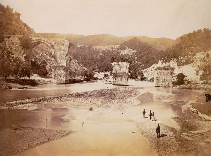 The bridge of Augustus at Narni in Italy c1865 • By Gioacchino Altobelli