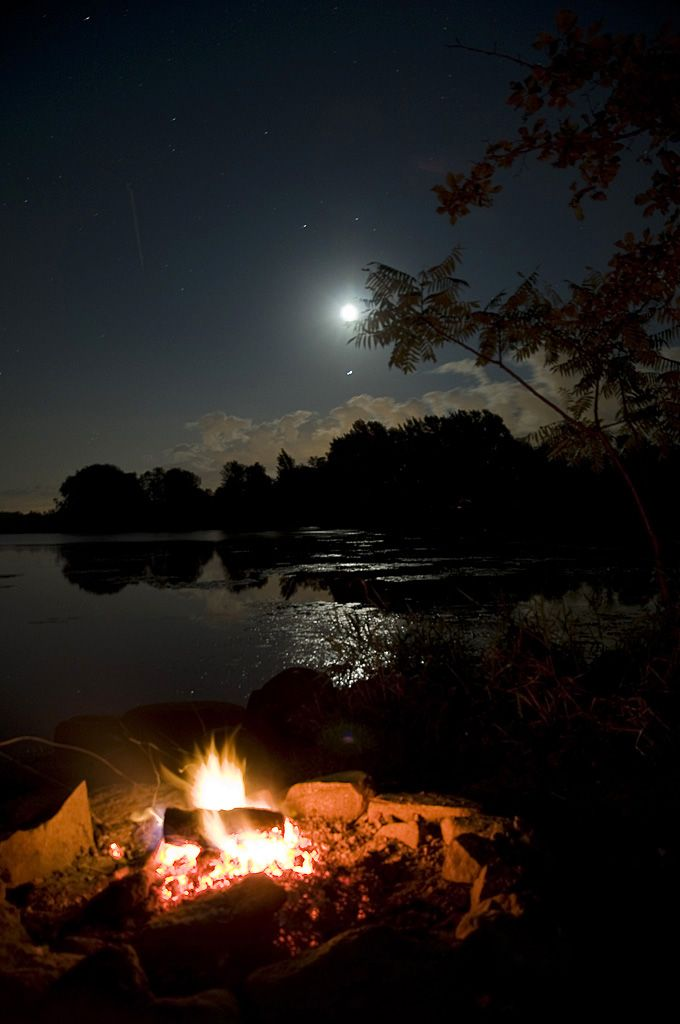 **This setting has 3 things that soothe my soul:  1-sitting next to a campfire at night just staring at the logs burning and flames flickering, 2-being near the water listening to the frogs/toad chirp, water trickling, splashing and 3-looking up at a night sky at the bright moon and stars.  See the moon's reflection in the water and/or a falling star are a bonus treat!