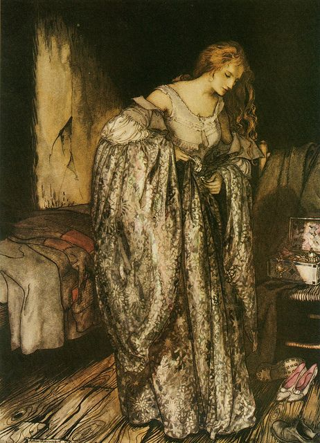 """This gorgeous illustration is by Arthur Rackham,from the story """"The True Sweetheart"""" by the brothers Grimm."""