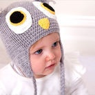 Acorn Wool Crochet Hat Beanie Light Grey - Owl