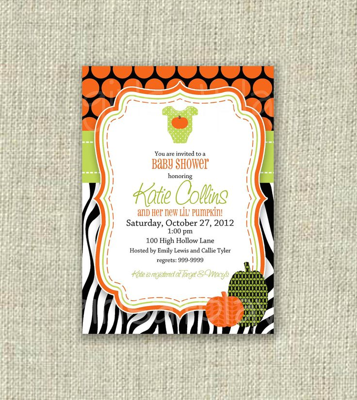 143 best Halloween Baby Shower Invitations images on Pinterest ...