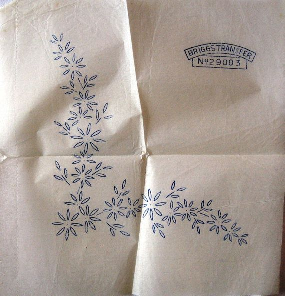 Vintage iron on embroidery transfers by the briggs