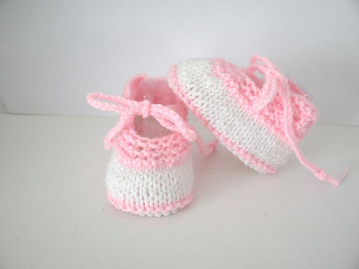 ballerines bébé chaussons naissance 0/3 mois blanc rose lacets : Mode Bébé par sweet-creas