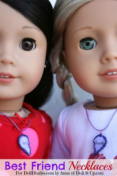 Best friend necklaces for dolls and girls-printable pattern included!