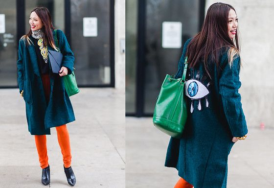 Get this look: http://lb.nu/look/8063532  More looks by Thythu NGUYEN: http://lb.nu/user/4463988-Thythu-N  Items in this look:  Carmakoma Green Coat, Uniqlo Orange Legging, Louis Vuitton Noé Bag   #casual #edgy #street #anndemeulemeester