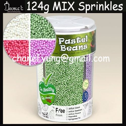 4 Colors Cells Mix Sprinkles Decoration,Popular Pastel Beans Balls Birthday Party Edible Cake Decoration,Cupcake Decorations037