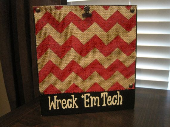 Red Wreck 'Em Tech, Texas Tech Distressed Chevron Picture Frame on Etsy, $18.00
