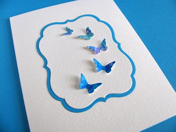 Watercoloured Butterflies on Turquoise and Ivory Panel handmade by aboundingtreasures on etsy.com