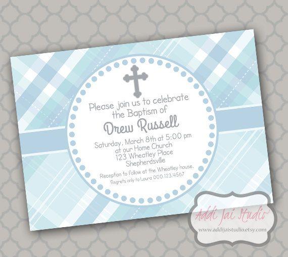 Boy Baptism celebration printable 5x7 4x6 or 4x5.5 party invitation on Etsy, $6.00