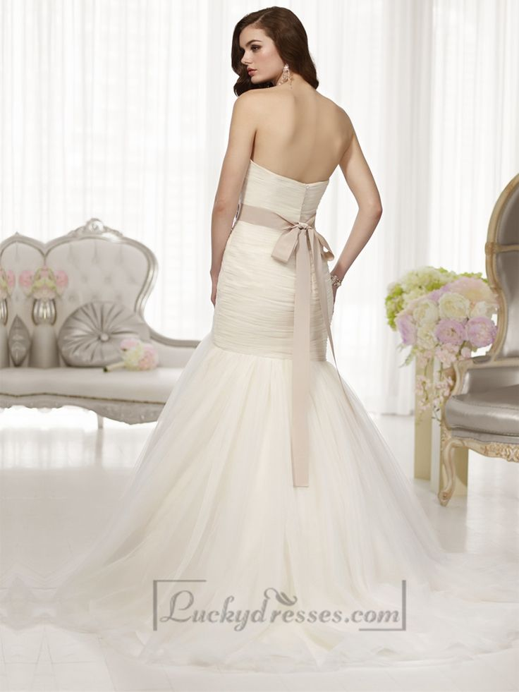 Fit and Flare Sweetheart Ruched Bodice Wedding Dresses with Detachable Beading Belt Sale On LuckyDresses.com With Top Quality And Discount