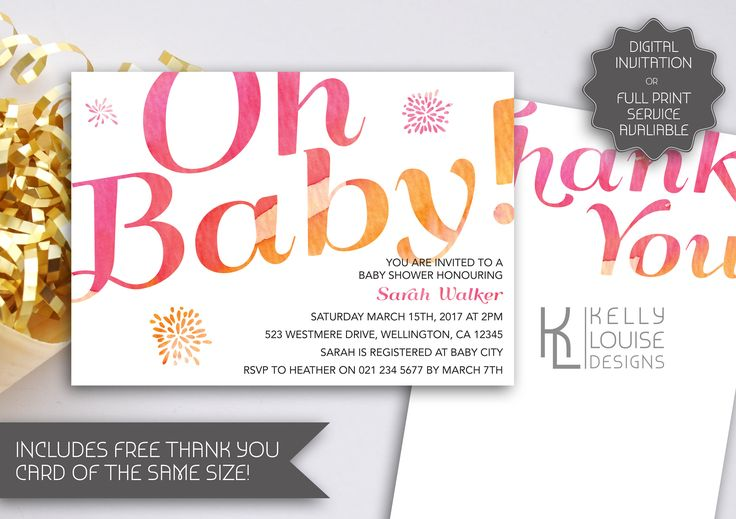 Watercolour Baby Shower Invitation | Printable Invitation | Girl Baby Shower | Pink Baby Shower Invitation | Baby Girl | Pink & Orange (063) by kellylouisedesigns on Etsy