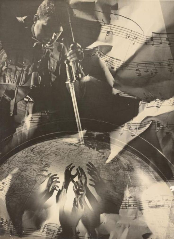 Laurence Le Guay. No title (War montage with globe) 1939. Via nsw.