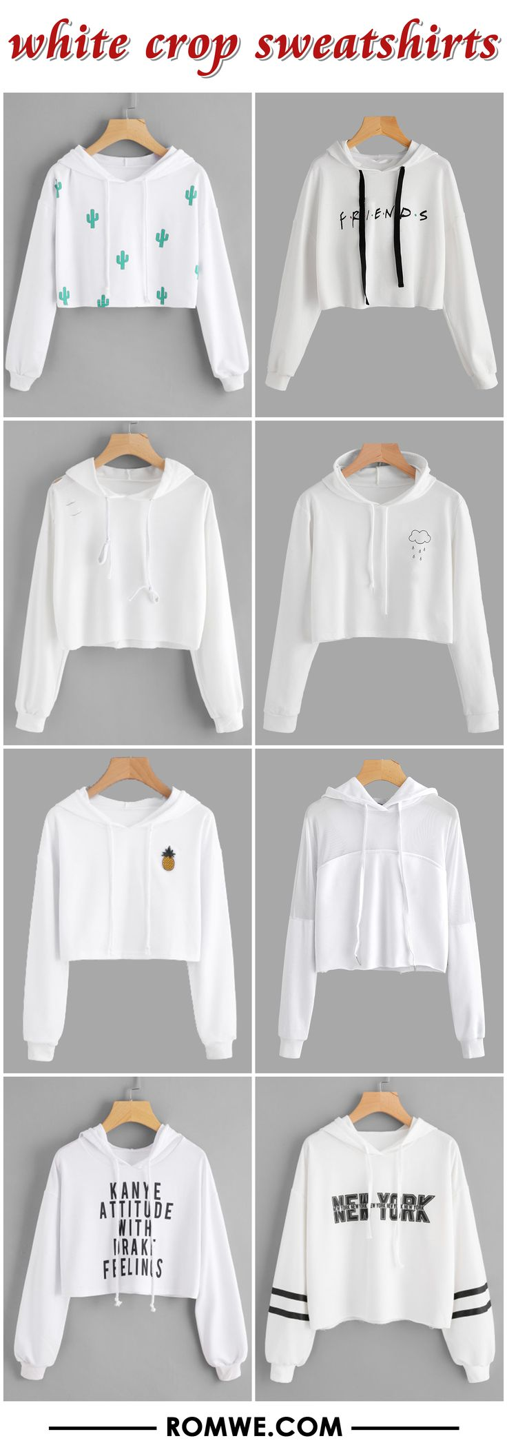 white crop sweatshirts 2017 - romwe.com
