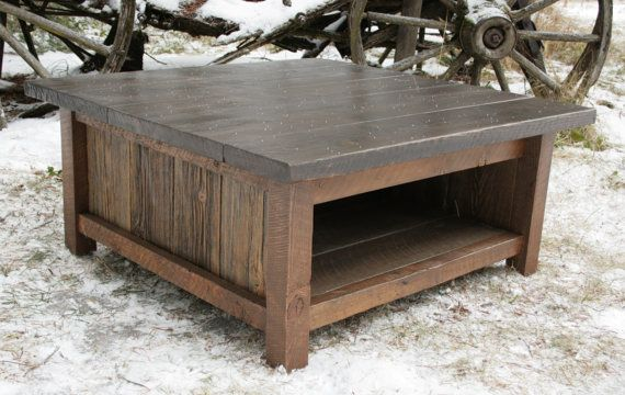 Perfect for our family room.  We are buying it now!  Rustic Modern Reclaimed Coffee Table via Etsy.