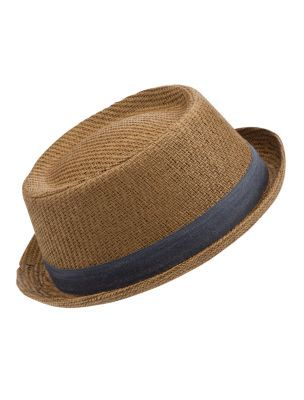 Straw Chambray Trim Pork Pie Hat