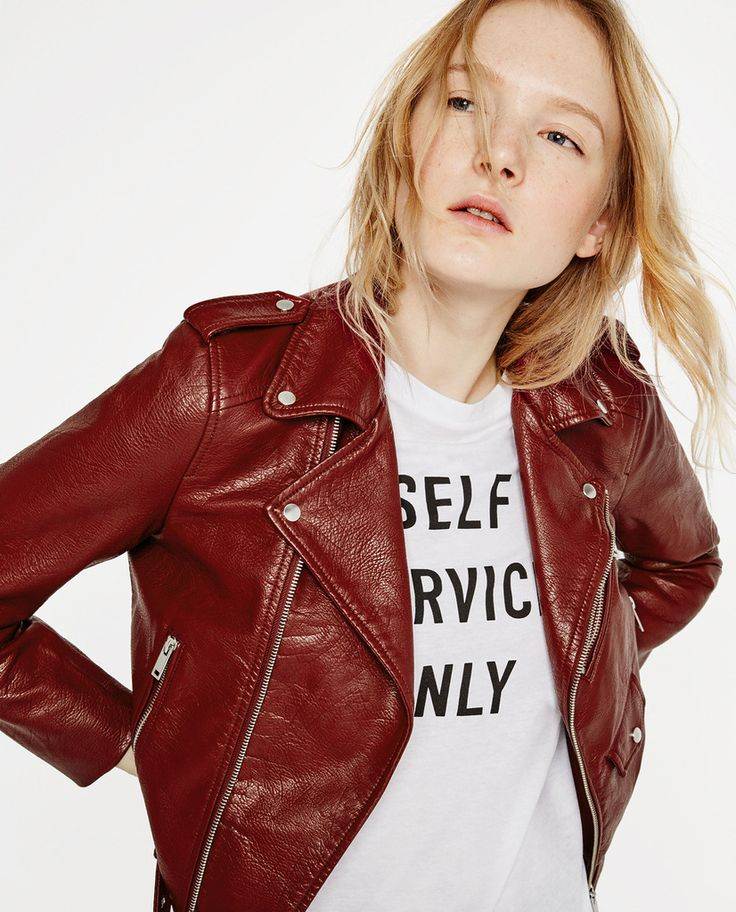 Zara Burgundy Faux Leather with Zipper & Buckle Jacket