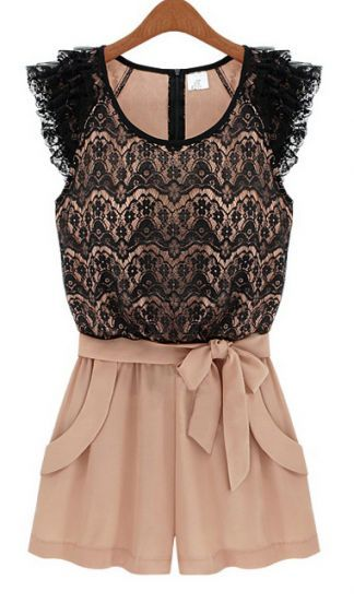 Sleeveless Lace Belt Jumpsuit