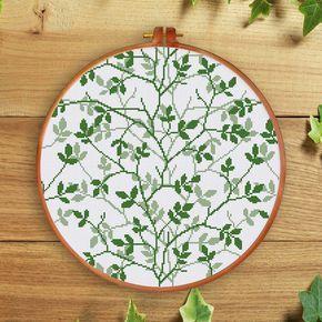 Flourishing Green cross stitch pattern Modern nature spring